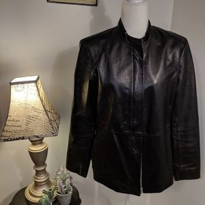 Alfani Lamb Black Leather Jacket